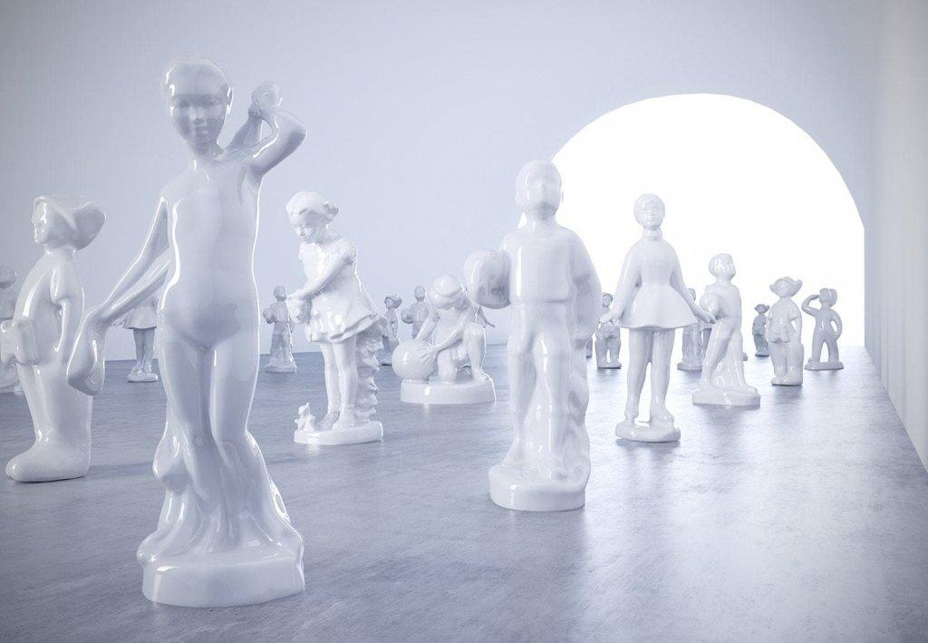 JULIA BELIAEVA the museum of dematerialized small porcelain figurines instalathion 4